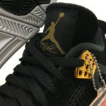 "NIKE AIR JORDAN 4 RETRO ""ROYALTY"" BLACK/METALLIC GOLD-WHITE"